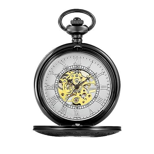 Quskto Relojes de Bolsillo y para Hombre Reloj de Bolsillo clásico ...