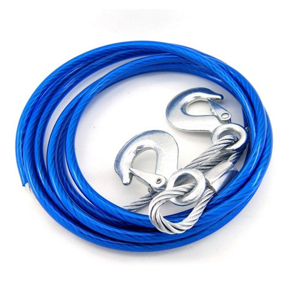 5 Tonnes Cordes de Remorquage Résistante 4 Mètres Dépannage Câble avec 2 Crochets de Sécurité pour Voitures AUTLY