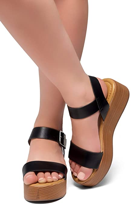 9aea7bc7b0bf Amazon.com  Herstyle Carita Women s Open Toe Ankle Strap Platform Wedge  Sandals  Shoes
