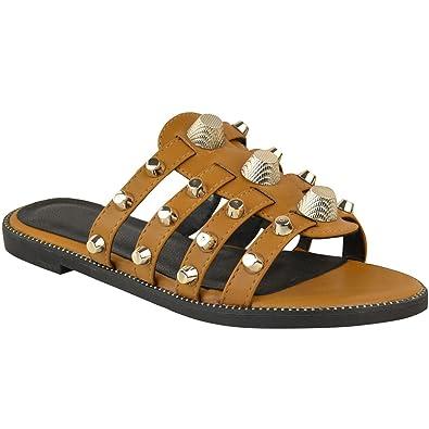 43d91885cad21 Fashion Thirsty Sandales à Enfiler - pour Femme - Grands Clous Imitation  Cuir - Été