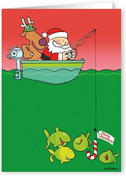 Fishing Personalised Christmas Greetings Card