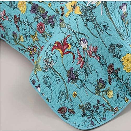 ADGAI Couvre-lit Bouti Bed 135 0 140, Couvre-lit 1 * 230 * 250 cm et 2 taies d'oreiller 50 * 70 cm, Bleu pour lit Double en Tant Que Couverture ou literie