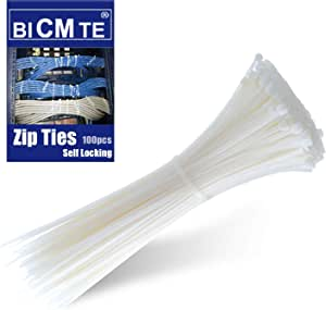 Cable Ties - Nylon Zip Cable Ties Industrial Multi-Purpose UV Resistant White Cable Ties, Wire Ties for Organizing Wires,White,100 Pcs (White 100pcs)