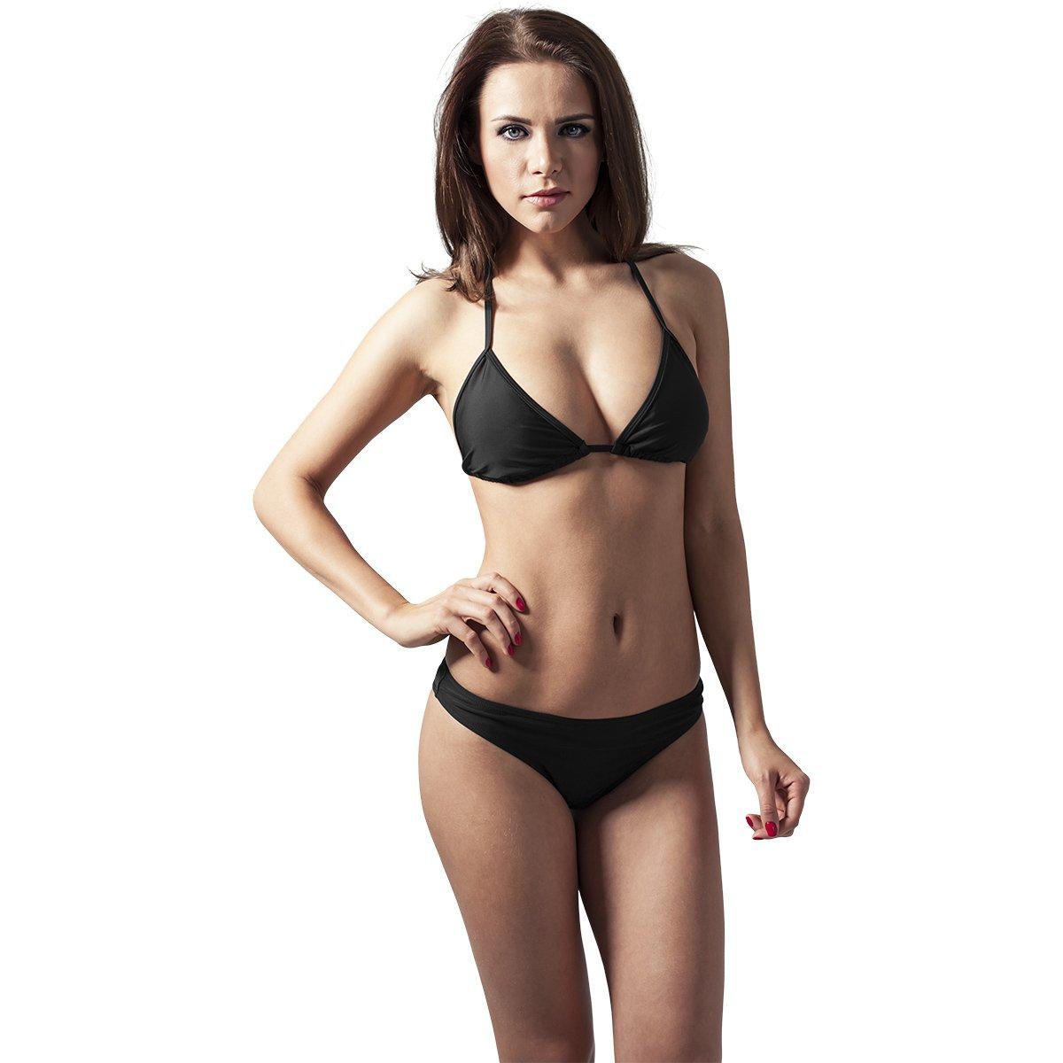 Urban Classics Ladies Triangle Bikini Schwarz//Wei/ß X-Small Maillot de Bain Deux Pi/èces Femme