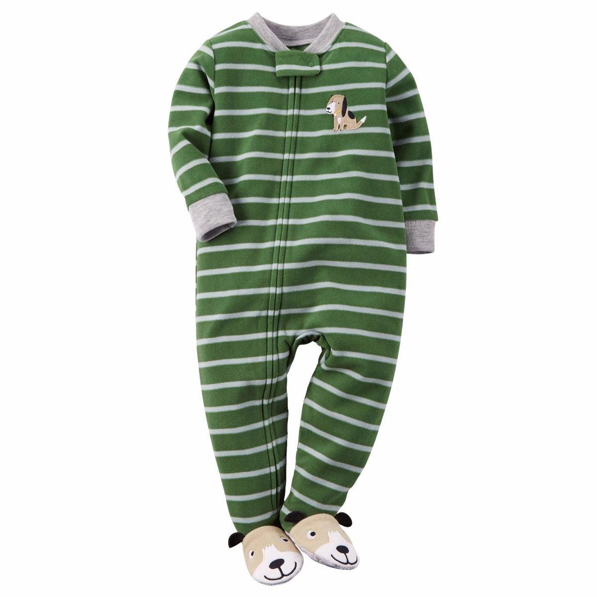 CARTERS Boys Size 3T Striped Puppy Dog Fleece Footed Pajama Sleeper
