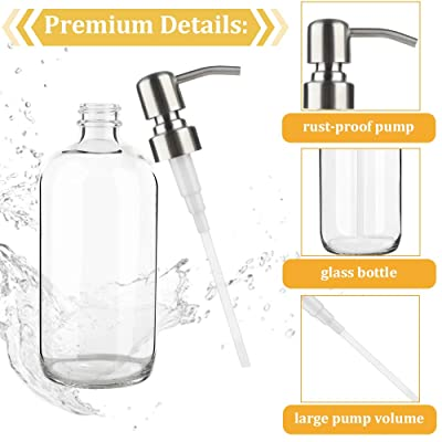 Buy Clear Glass Soap Dispenser 17 Oz Glubee Refillable Liquid Kitchen Soap Dispenser With Rustproof Stainless Steel Pump Hand Bathroom Soap Dispenserfor For Essential Oils Lotions Liquid Soaps Online In Indonesia B083kdfc3p