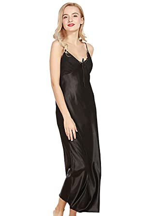 e706766df5db8 Image Unavailable. Image not available for. Colour  Vdual Women s Pajamas  Satin Nightgown Long Sleeveless Soft Silky Sleepwear Slip Night Dress