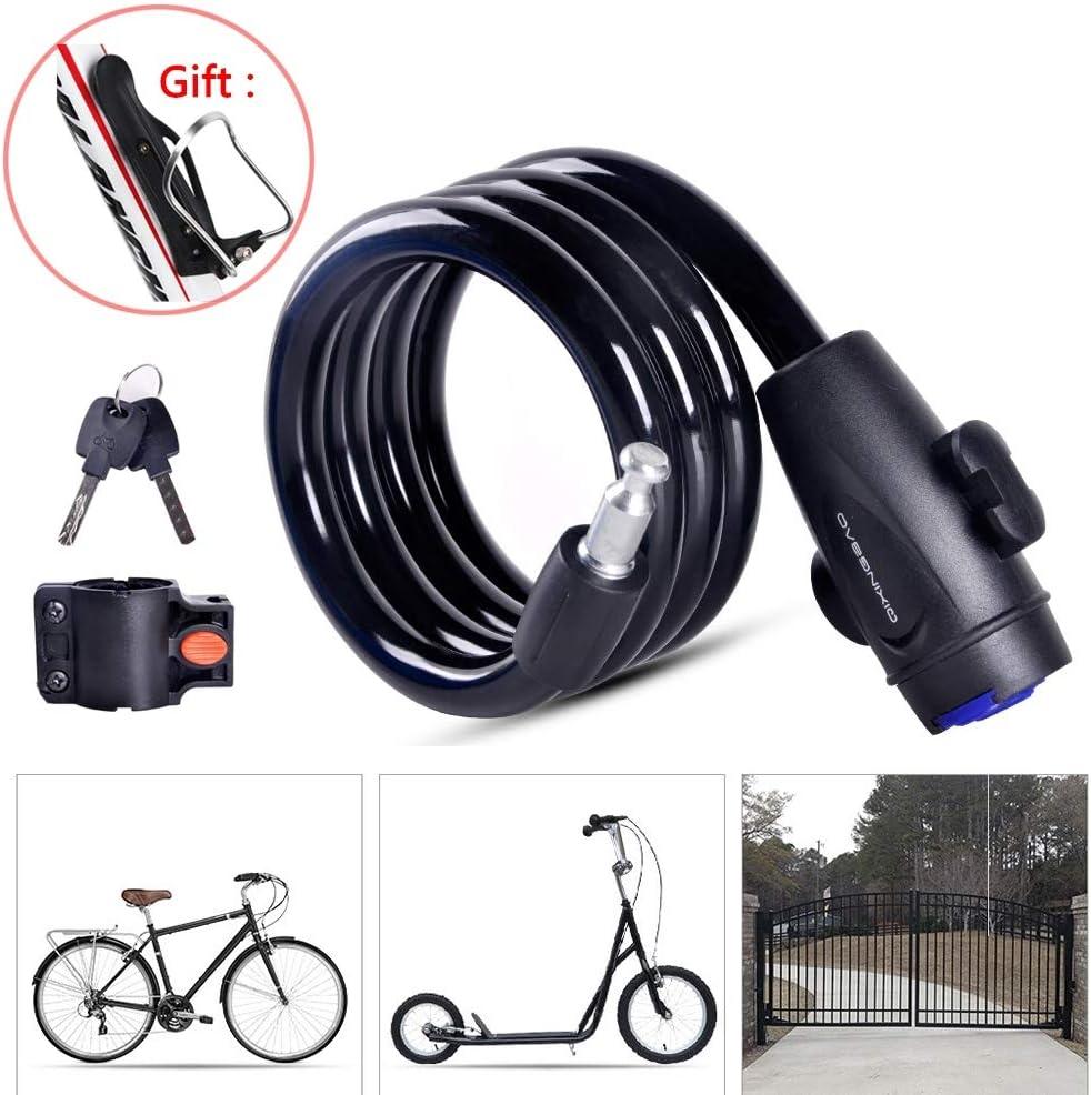 LieYuSport Candado Bici,Cadena Bici Alta Seguridad con Portabidones Ciclismo/Abrazadera de Soporte,Diseño a Prueba de Polvo Cadena Bicicleta Cable para Vehículos Eléctricos de Bicicleta,Black: Amazon.es: Deportes y aire libre