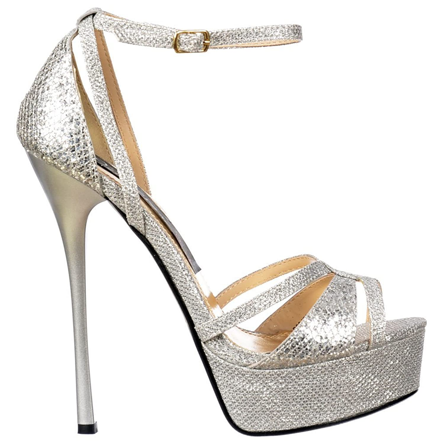 Amazon.com | Onlineshoe Women's Sparkly Glitter Strappy Peep Toe ...