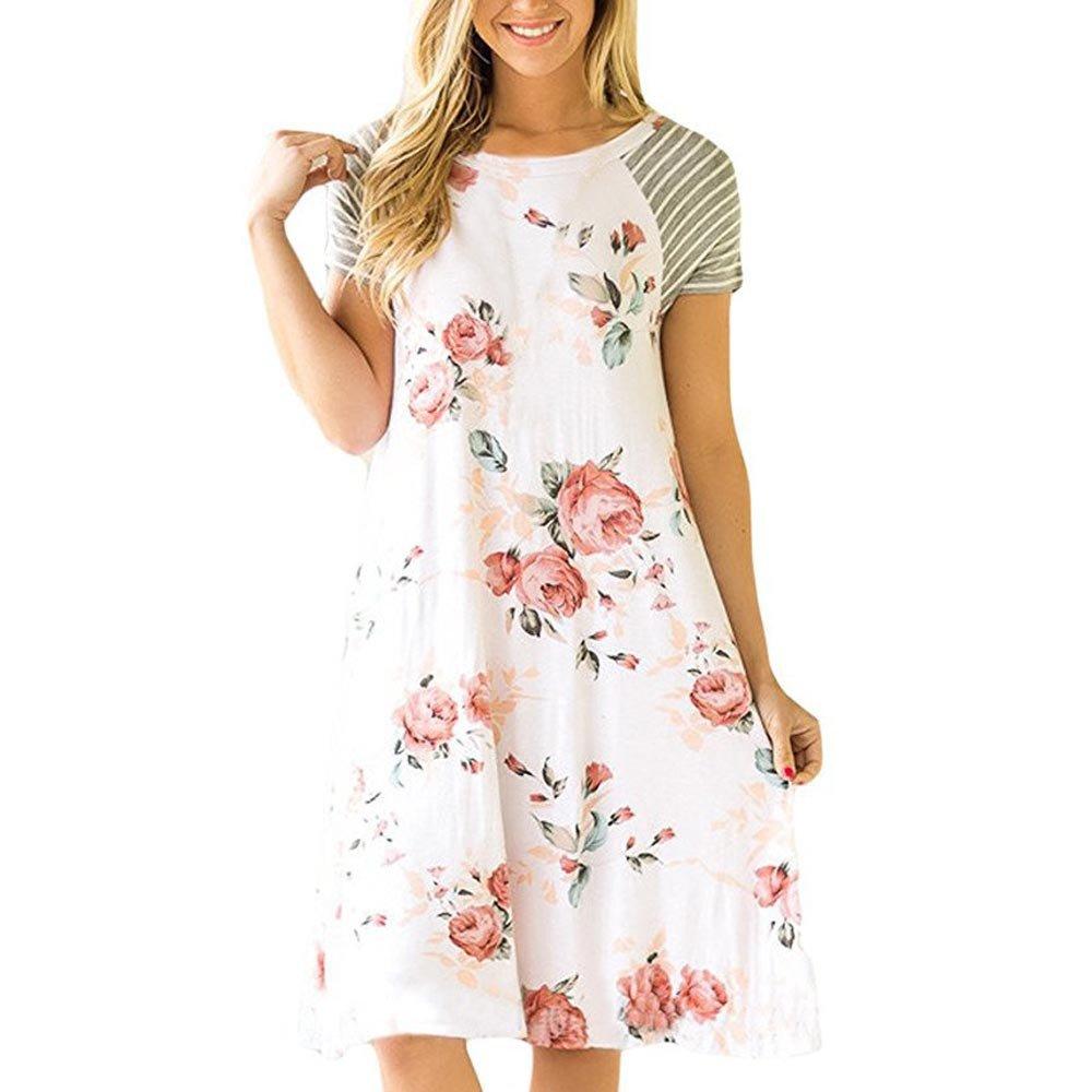 Libermall Women's Dresses Summer Floral Print Short Sleeve Beach Sundress Casual Tunic A-Line Dress White