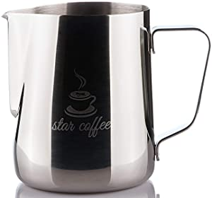 Star Coffee 20, 12 or 30oz Stainless Steel Milk Frothing Pitcher - Measurements on Both Sides Inside Plus eBook & Microfiber Cloth - Perfect for Espresso Machines, Milk Frothers, Latte Art