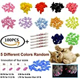JOYJULY 100pcs(5 Sets) Soft Pet Cat Nail Caps Claws Control Paws of 5 Different Colors Caps+ 5 Adhesive Glue Cat Nail…