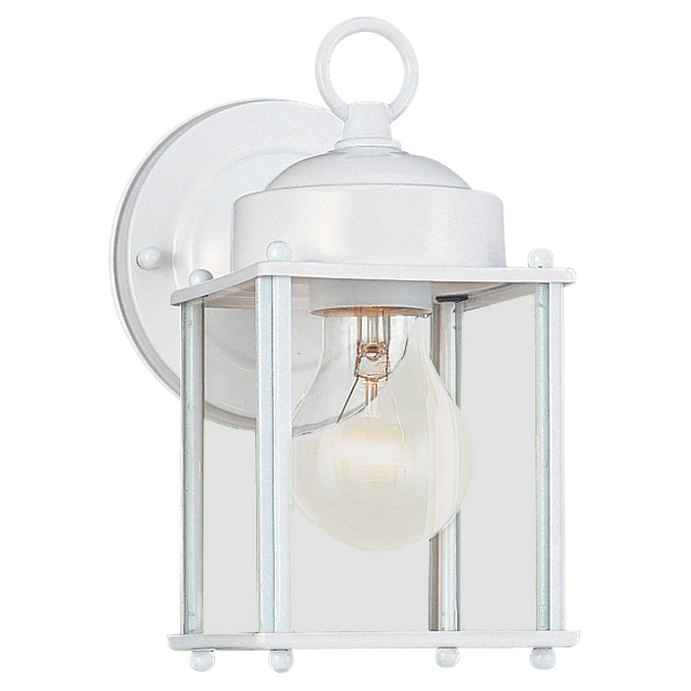 Sea Gull Lighting 8592-15 New Castle One-Light Outdoor Wall Lantern with Clear Glass Panels, White Finish