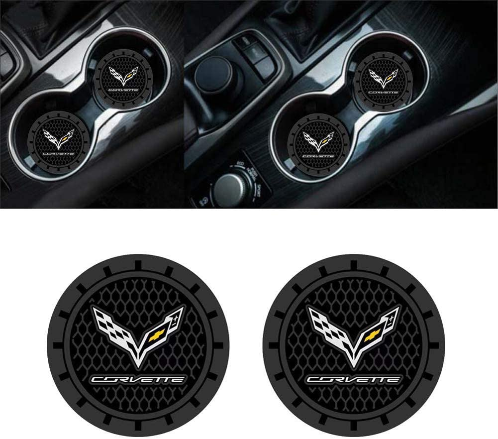 yyyycar 2 Pack 2.75 inch Car Interior Accessories Anti Slip Cup Holder Mat for Corvette All Models (Corvette)