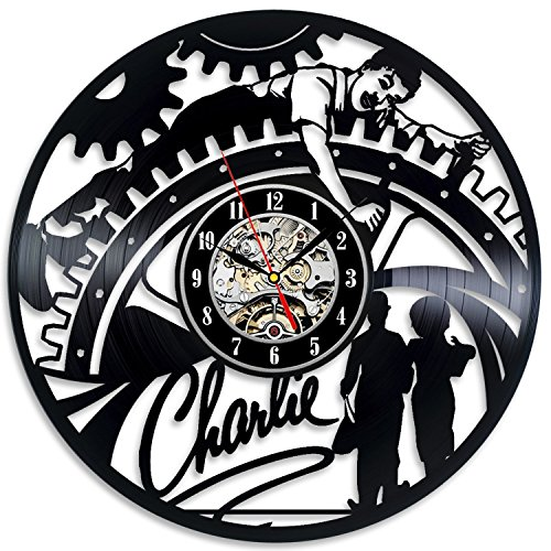 Charlie Vinyl Record Wall Clock - Decorate your home with Modern Large Art - Gift for kids, girls and boys - Win a prize for a feedback]()