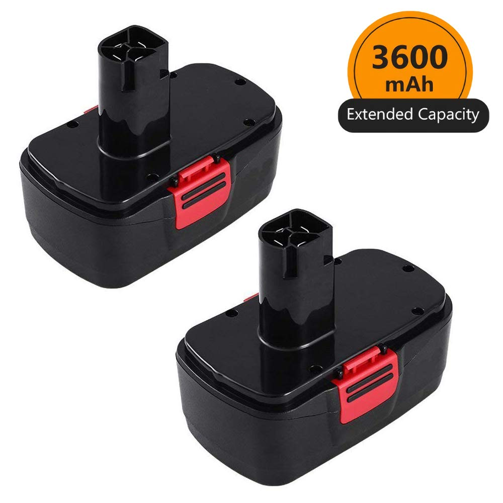 [Upgraded to 3600mAh] 3.6Ah Ni-Mh Replace for Craftsman 19.2 Volt Battery Diehard C3 315.115410 315.11485 130279005 1323903 120235021 11375 11376 Cordless Power Tool Batteries 2 Packs