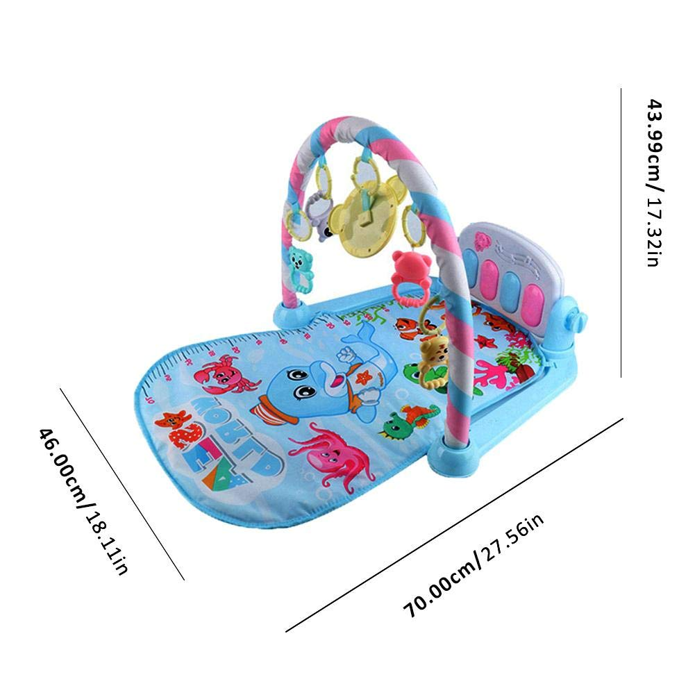 Play Piano Gym Baby Kick Piano Playmat Kick and Gym Play Mat for Newborn Baby Music Game Blanket Toy Ringing Bell with 4 Interesting Rattles Removable Washable