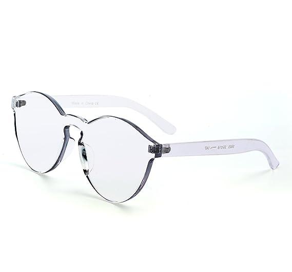c67252e7a0 YANQIUYU One Piece Rimless Sunglasses Transparent Candy Color Eyewear  Ultra-Bold Colorful Mono Block (