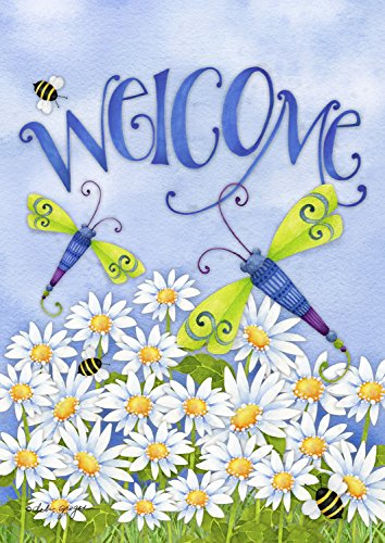 """Dragonfly Welcome Summer Garden Flag Meadow Daisies Bumblebees 12.5""""x18"""""""