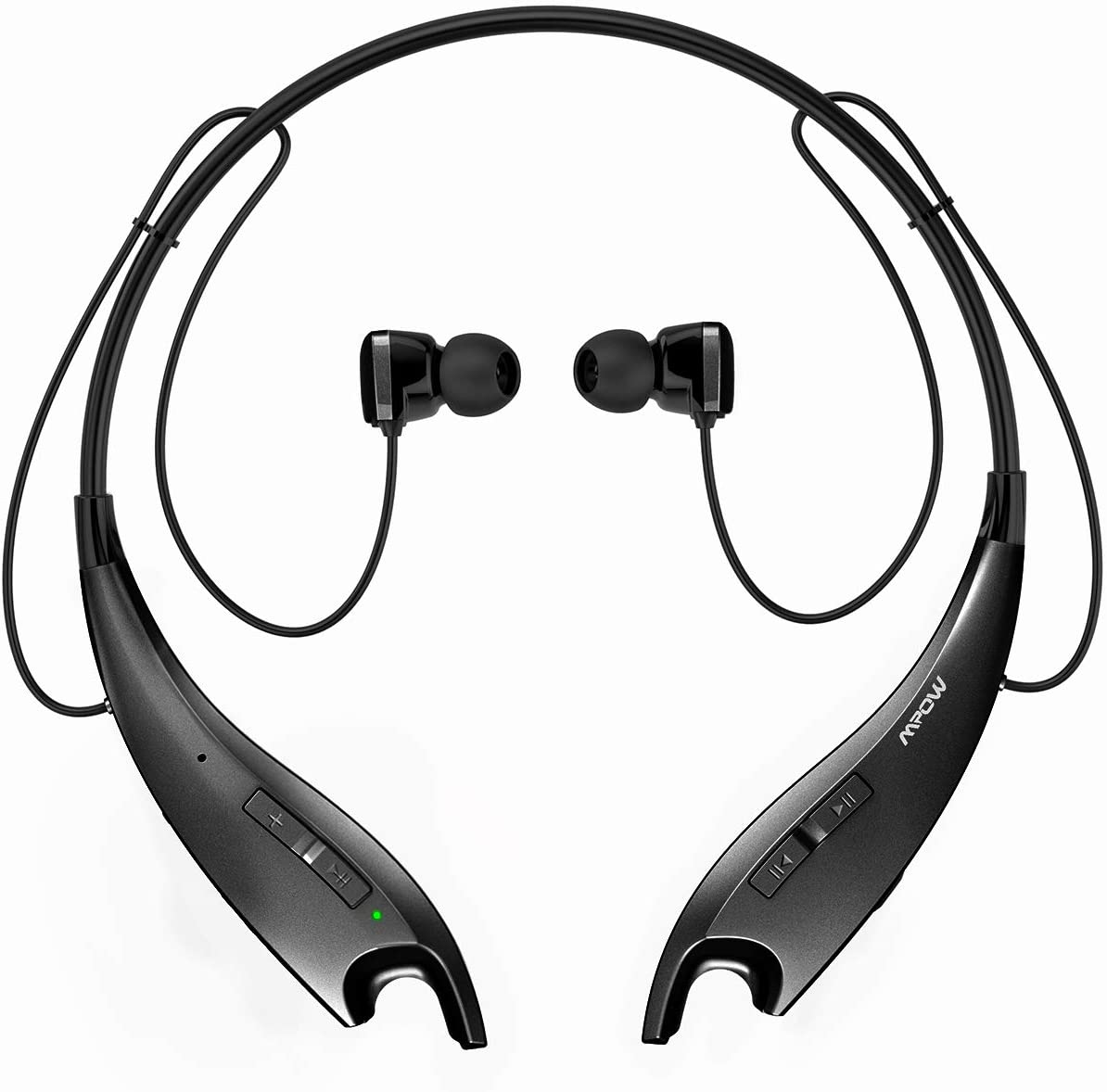 Mpow Jaws Upgraded Gen-3 Bluetooth Headphones for Work from Home, Wireless Neckband Headphones 13H Playtime, Bluetooth Headset W Call Vibrate CVC 6.0 Noise Cancelling Mic, Magnetic Earbuds, Black