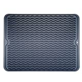 : Large Dish Silicone Drying Mat, Draining Mat for Kitchen Counter, Dark Grey