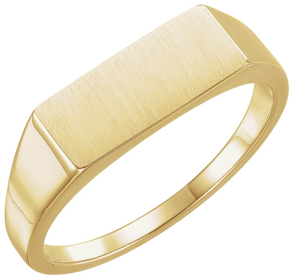 Men's Brushed Rectangle Signet Ring, 14k Yellow Gold (7x15 MM) Size 12
