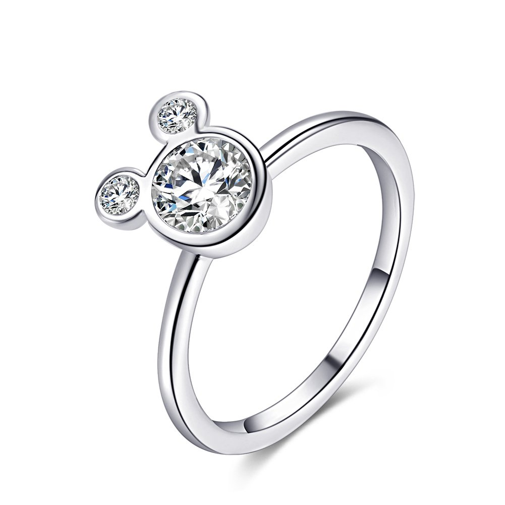 Women's Mickey Shape Rings Sterling Silver Plated Cubic Zirconia Mouse Ring For Women Girl Party Jewelry dilanshipin