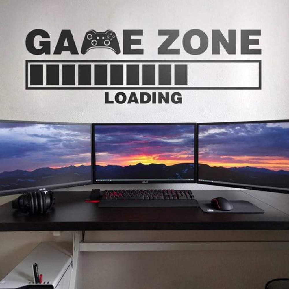Juego Grande Vinilo Adhesivos de Pared Cargando Gamers Área de Videojuegos Sala de Juegos de computadora Adhesivos de Pared Decoración del hogar Dormitorio Habitación Murales 132x42 cm: Amazon.es: Hogar