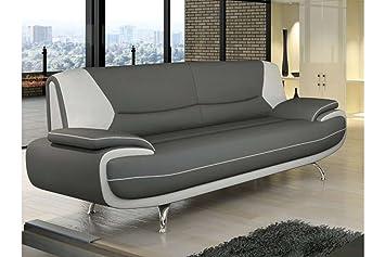 canap 3 places design gris et blanc marita - Canape Gris Blanc