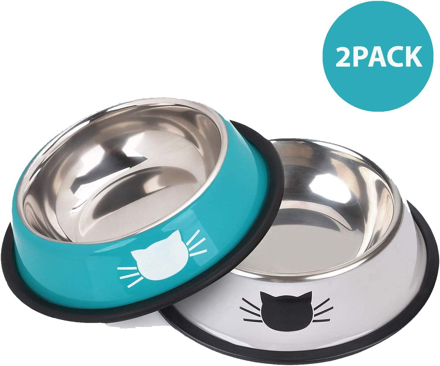YASMA Cat Bowls Stainless Steel Pet Cat Bowl Kitten Rabbit Cat Dish Bowl with Cute Cats Painted cat Food Dish Easy to Clean Durable Cat Dish for Food and Water