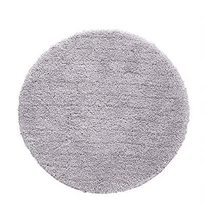 Cozy Shag Bathroom Rug, Seavish Non Slip Microfiber Soft Absorbent Shower Mats (2ft Round, Light Grey) - [Against the Cold]: It will pamper your feet with plush and dense microfiber, soak up the water immediately when you get out of the tub or shower to keep your feet warm, protect it from the cold floor, don't worry about dripping water all over your bathroom. Perfect as a shaggy Bathroom rug, plush floor rug, pet door mat, kitchen sink rug, indoor floor mat microfiber spa rugs, make your feet sink into it comfortably. [SUPER SOFT & ACCENT DECOR]: Crafted with dense finespun plush pile that over 0.8 inch thick, featuring beautiful color, luxurious feel to ensure these long-lasting bath rugs is soft shag carpet that feels wonderful on your bare feet. Offers the perfect combination of luxury and comfort with our perfect soft bath rug collection. [ANTI-SKID LATEX BACKING]: A skid resistant rubber latex bottom features the good breathability can keep this bath rug from mildewing, helps keep rugs in place to prevent shifting and slips as you step out of the shower, perfect for families with kids and seniors. - bathroom-linens, bathroom, bath-mats - 61AbqpwEB5L. SS400  -