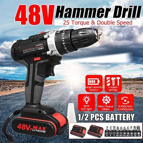 Gizayen 48V Electric Hammer Drill Cordless Drill Woodworking Tool Rechargeable Woodworking Drills, Cordless Electric Screwdriver Rechargeable Screw Gun & bit Set