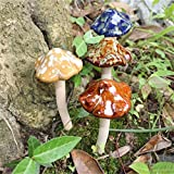 Bureze 4Pcs Cute Ceramic Pottery Mushroom Yard Garden Decor Ornament Model Statues