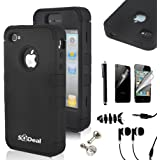 SQDeal Hybrid Hard Case Protective Cover with Touch Stylus Pen, Front Back Screen Protector, Dust Plug, Earphone for iPhone 4/4s - Black