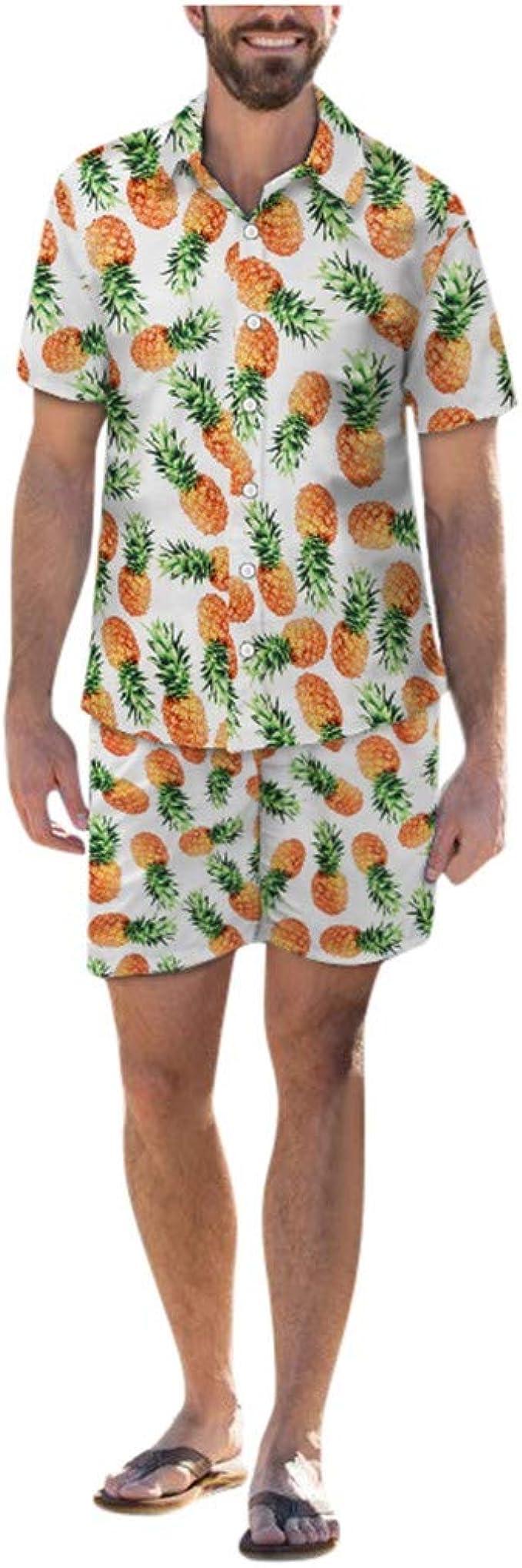 SUMTTER - Disfraz de Hawaii Corto para Hombre, Camisa Hawaiana + Pantalones Cortos Hawaii, Camiseta Hawaiana + pantalón Hawaiano Blanco M: Amazon.es: Ropa y accesorios