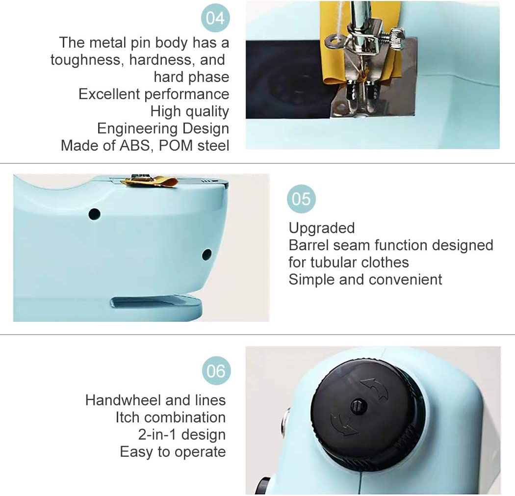 Bruvoalon Electric Sewing Machine Foot Pedal Night Light Portable Household Lightweight Sewing Machine for Beginner Adjustable 2-Speed/ for Tailors//Arts//Crafting Free Arm Double Thread Blue