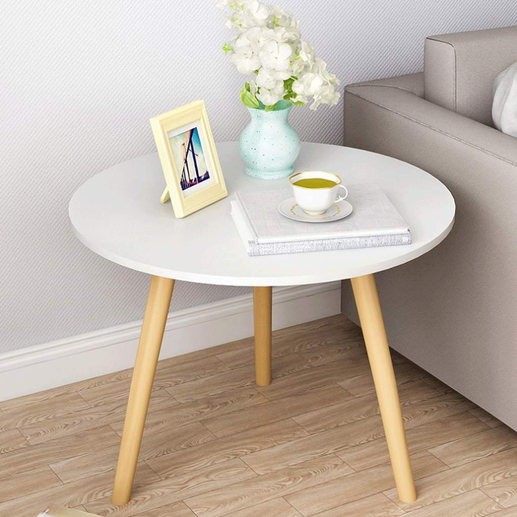 Round Coffee Table Solid Wood Side Table Work Table Bedroom Bedside Living Room Sofa Terrace, Match, Wood Color (Color : White) by Small table