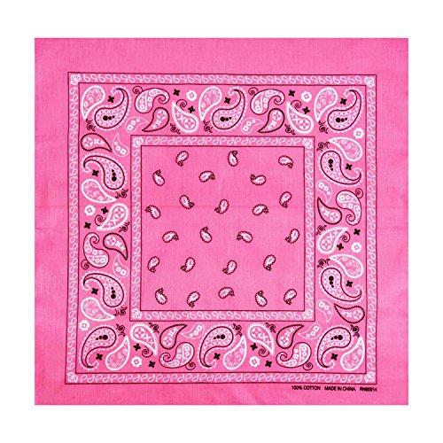 L&M 12Pcs Bandanas 100% Cotton Paisley Print Head Wrap Scarf Wristband (Pink) -