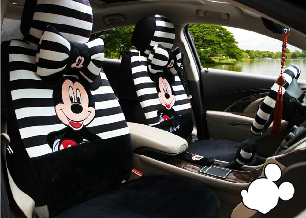 18pcs Maimai88 Fashion Classic Cartoon Embroidery Soft Plush Car Seat Cover Seating of Men&women a Complete Set of Car Covers Used Four Seasons by maimai88