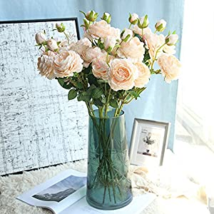 Rm.Baby 1Pcs Artificial Fake Flowers Rose Peony Floral Real Touch Cloth Material Arrangement Bouquets Bridal Hydrangea Home Garden Decor Room Office Centerpiece Party Wedding Decor 3