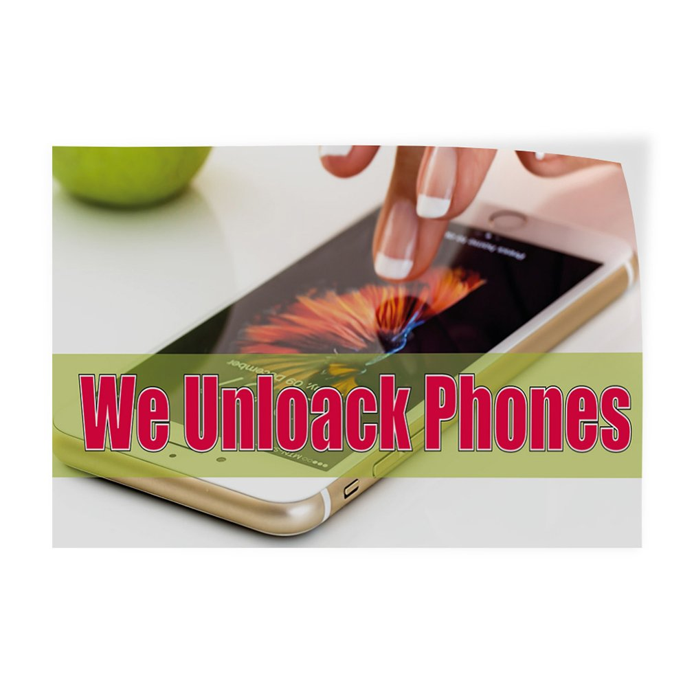 Decal Sticker Multiple Sizes We Unlock Phones #1 Retail Phones Outdoor Store Sign Brown Set of 5 27inx18in
