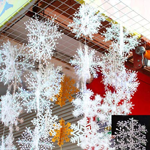 YaptheS 3pcs Classic White Snowflake Ornaments Christmas Holiday Party Home Decor Easy to ()