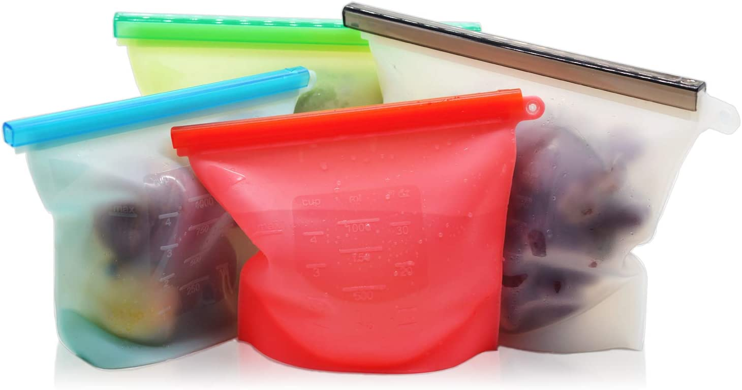 DSMATES Reusable Silicone Food Storage Bags,Food Grade bag for lunch, sandwich, freezer, cooking, Vegetable, Meat, Milk, Snack, 1L/Medium, A Set