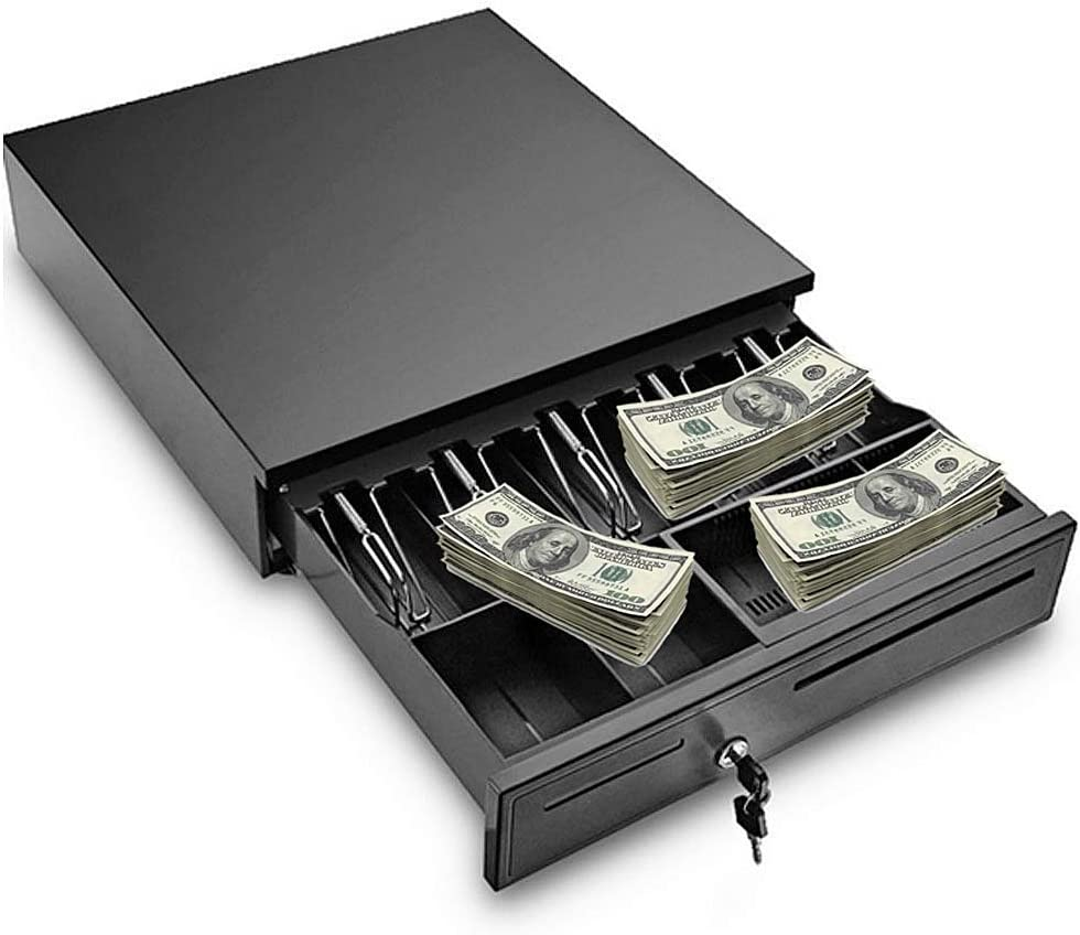 Prettyshop4246 Cash Holder Drawer Safe Box Cashier Design Home Supermarket Shop Restaurant Hotel Office Bank Compact Size Several Compartment Key Lock Separate Coin and Bank