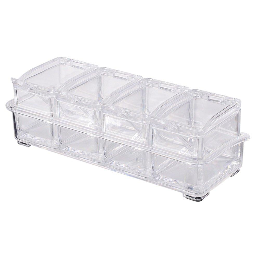 acquistare ora YXQ-    Acrilico 4 Set Trasparente Seal Cover Antiscivolo Kitchen Floor Spice Box Set Dimensioni  26  10  8cm Mensola  migliori prezzi e stili più freschi