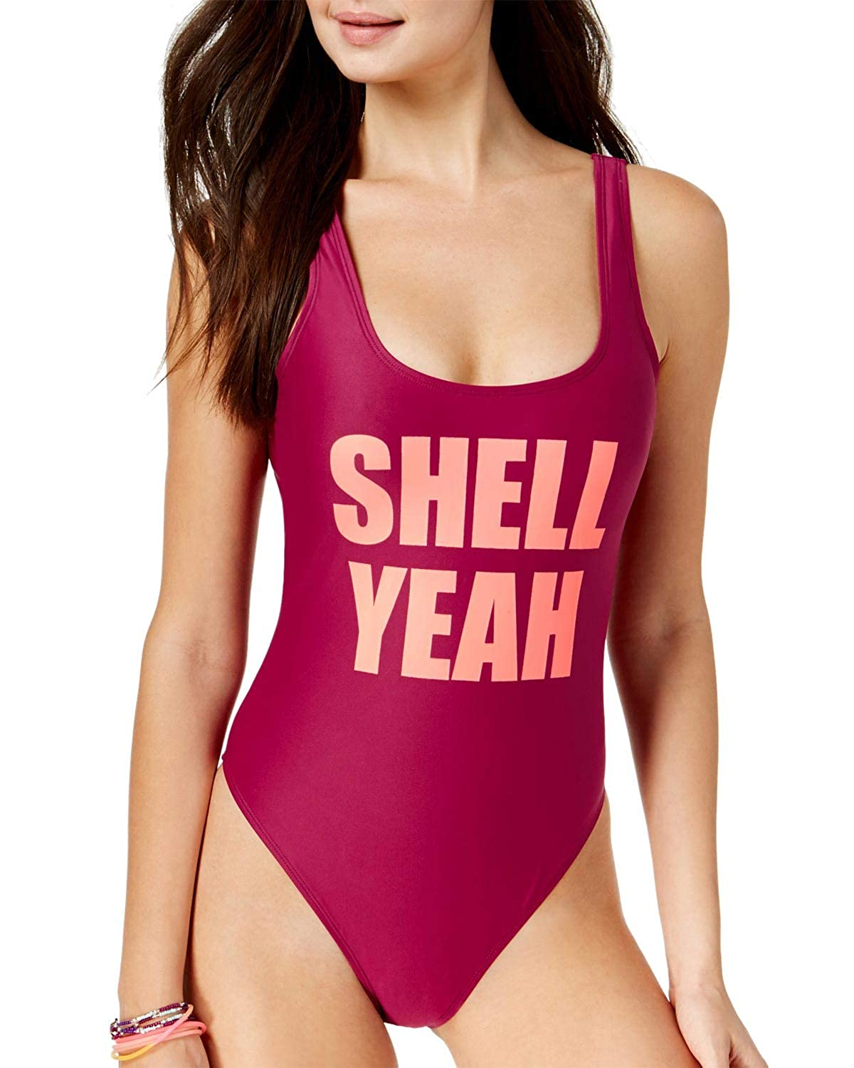 06c384ab4a5 California Waves Juniors' Shell Yeah Graphic One-Piece Swimsuit at Amazon  Women's Clothing store: