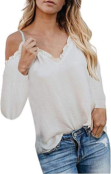 LOPILY Elegante Camiseta de Mujer con Hombros Descubiertos ...