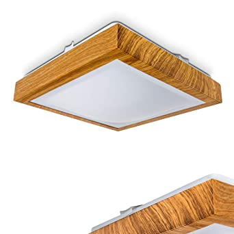 Moderner LED Deckenstrahler Sora In Holz Optik U2013 Badezimmer Lampe Sora U2013  Warmweißes Deckenlicht