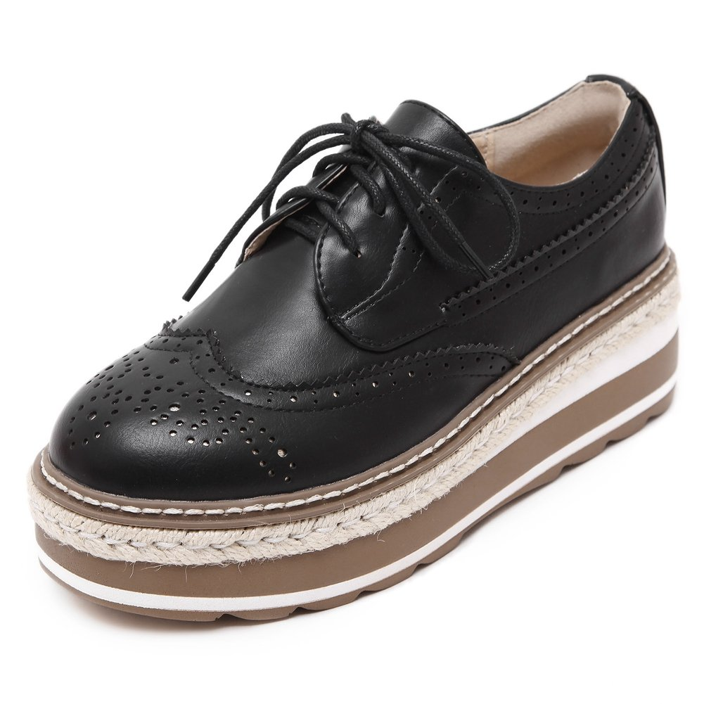 CYBLING Fashion Casual Women Mid Heel Lace up Thick Sole Platform Oxford Shoes