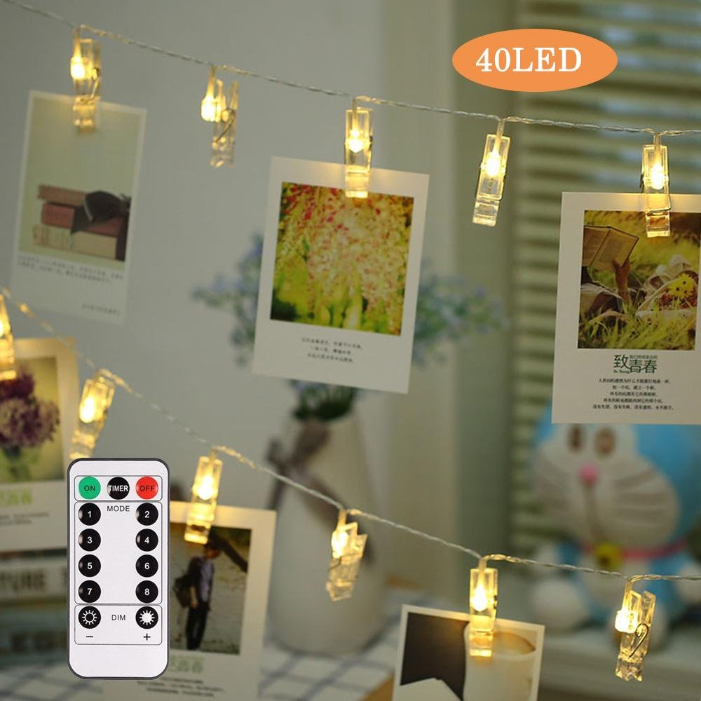 リモートコントロール40 LEDフォトクリップ文字列ライト( 13 ft、8モード、バッテリーPowered、ウォームホワイトホーム装飾、Hanging Pictures /ノート/アートワーク、完璧なギフトの、友人、子供両親 7025779280111 B07BF7BM39 15533  40 Clips